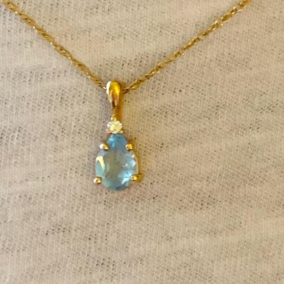 14 karat diamond/aquamarine necklace